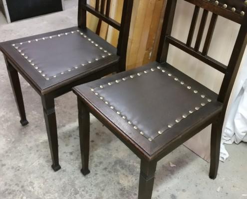 Stühle - Jugendstil - Eiche - Leder